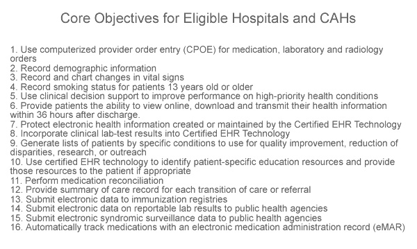 Meaningful Use Stage 2 Requirements – Core Objectives for Eligible Hospitals CAHs