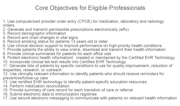 Meaningful Use Stage 2 Requirements – Core Objectives for Eligible Professionals