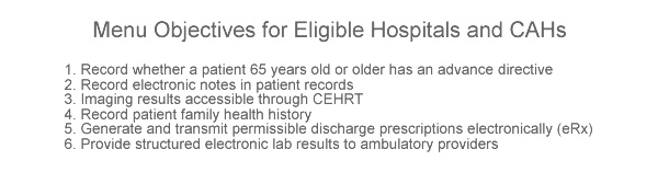 Meaningful Use Stage 2 Requirements – Menu Objectives for Eligible Hospitals & CAHs