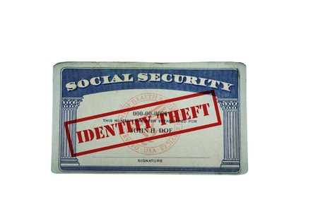 44185587 - social security card with identity theft text, isolated on white