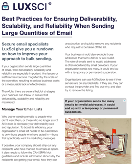 Best Practices for Ensuring Deliverability, Scalability, and Reliability When Sending Large Quantities of Email