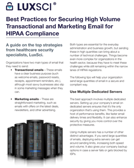 Best Practices for Securing High Volume Transactional and Marketing Email for HIPAA Compliance