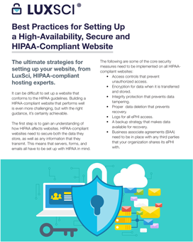 Best Practices for Setting Up a High-Availability, Secure and HIPAA-Compliant Website