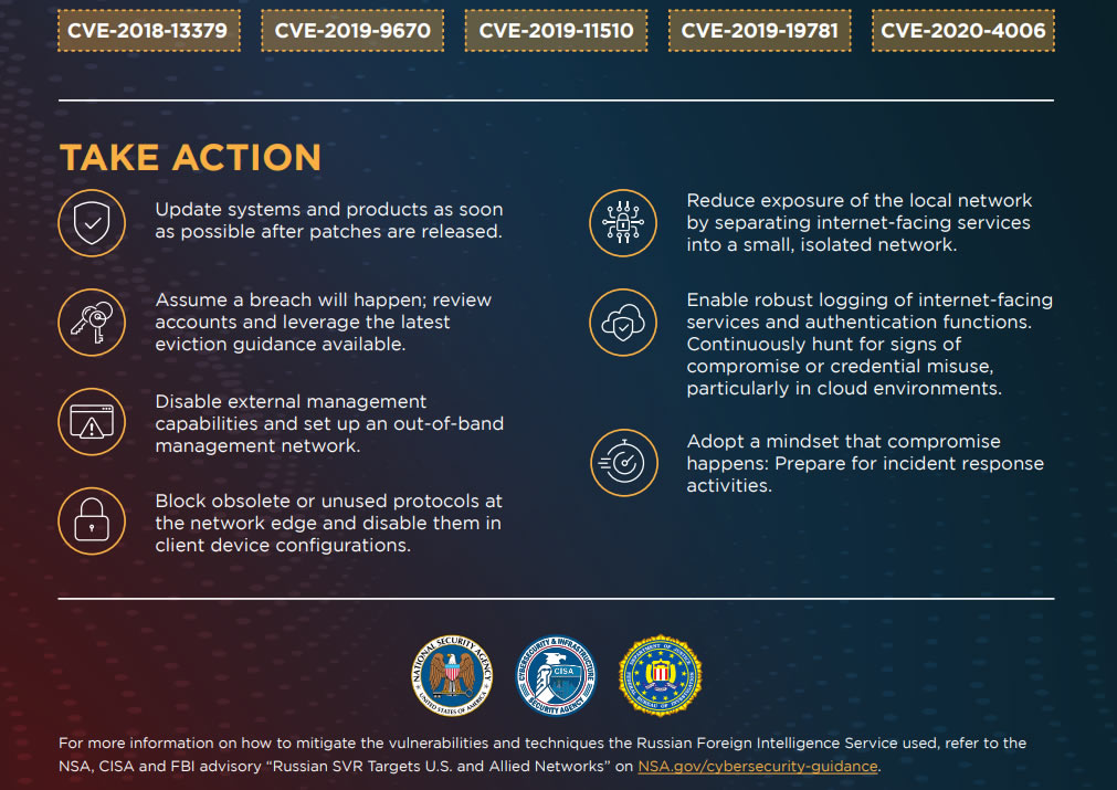 NSA/CISA/FBI: Patch Now to Stop Russian Government Hackers Exploiting These 5 Vulnerabilities